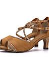 בגדי ריקוד נשים נעליים לטיניות משי סנדלים / עקבים ריינסטון / אבזם עקב רחב נעלי ריקוד שחור / חום / אדום / הצגה / עור / EU38