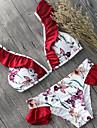 Pentru femei Bikini - Bufantă, Floral Cu Bretele Cheeky