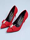 Pentru femei Pantofi Țesătură Toamnă Confortabili Tocuri Toc Stilat Vârf ascuțit Funde pentru Rochie Negru Rosu Verde