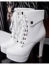 Femme Chaussures Polyurethane Automne Confort Bottes Pour Decontracte Blanc Noir Amande
