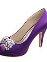 Pentru femei Pantofi Satin Elastic Primăvară / Vară Balerini Basic pantofi de nunta Toc Stilat Pantofi vârf deschis Cristal / Funde Rosu