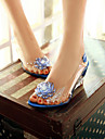 Damă Pantofi PU Vară Confortabili Sandale Toc Platformă Vârf deschis pentru Casual Alb Rosu Albastru