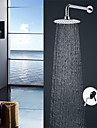 Contemporary Modern Style Wall Mounted Rain Shower Ceramic Valve Chrome, Shower Faucet
