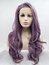 Perruque Lace Front Synthetique Long Violet Ligne de Cheveux Naturelle Perruque Naturelle Perruque Deguisement
