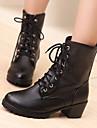 Damă Pantofi PU Toamnă Iarnă Confortabili Cizme Toc Gros Vârf rotund Cu Pentru Casual Alb Negru Maro
