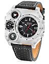 JUBAOLI Bărbați Quartz Ceas Militar  Ceas Sport Chineză Calendar Zone Duale de Timp  Piele Bandă Unic Watch Creative Cool Negru Khaki