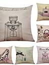 6 pcs Lin Coton/Lin Taie d\'oreiller Housse de coussin, Texture Plage Soutenir Traditionnel/Classique