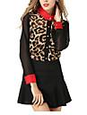 Damă Guler Cămașă Bluză Casul/Zilnic Sexy,Leopard Manșon Lung Toamnă-Mediu Poliester