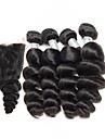 Cheveux Bresiliens Ondulation Lache Tissages de cheveux humains 4 paquets avec fermeture 8-26pouce Tissages de cheveux humains Noir
