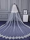 Voal de Nuntă Două Straturi Voaluri Lungi Până la Cot Voaluri de Catedrală Margine Tăiată Margine cu Aplicație de Dantelă Dantelă Tulle