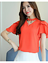 Women\'s Blouse - Solid Colored V Neck