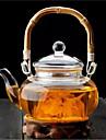 500ml bambuhandtag med hög borosilikatglas teapot drinkware
