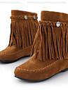 Femme Chaussures Polyurethane Automne / Hiver Botillons Bottes Talon Plat Bout rond Bottine / Demi Botte pour Noir / Marron / Rouge