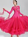 Fuer den Ballsaal Kleider Damen Leistung Polyester Elasthan Kristalle / Strass Langarm Kleid Neckwear