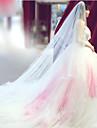 Două Straturi Margine Tăiată Voal de Nuntă Voaluri de Obraz Voaluri Lungi Până la Cot Voaluri de Catedrală Cu Volane Tulle