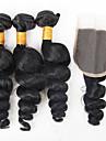 Cheveux Bresiliens Ondulation Lache Tissages de cheveux humains 3 paquets avec fermeture 12-26pouce Tissages de cheveux humains Noir
