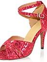 בגדי ריקוד נשים נעליים לטיניות דמוי עור סנדלים / עקבים אבזם עקב מותאם מותאם אישית נעלי ריקוד כסף / אדום / מקצועי