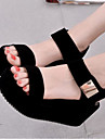 בגדי ריקוד נשים נעליים PU קיץ נוחות סנדלים מטפסים פתוח בבוהן לבן / שחור / נעלי עקב