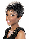 Syntetiskt hår peruker Vågigt Afro-amerikansk peruk Sidodel Mörka hårrötter Hår med highlights/balayage Utan lock Naturlig peruk Korta Grå