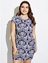 Pentru femei Mărime Plus Size Mâneci Fluture Larg Teacă Rochie - Imprimeu, Geometric Peteci Stil Nautic