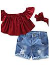 Fete Set Îmbrăcăminte Mată Vintage Bumbac Poliester Toate Sezoanele Manșon scurt Haine Volane Roșu Vin