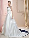 Linia -A / Prințesă În V Trenă Court Satin Made-To-Measure rochii de mireasa cu Mărgele / Broderie de LAN TING BRIDE®