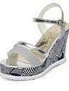 Damă Pantofi PU Primăvară Vară Pantof cu Berete Sandale Toc Pană Pantofi vârf deschis Cataramă Încrețit Cascadă Pentru Casual Auriu