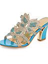 Pentru femei Pantofi PU Primăvară / Toamnă Confortabili / Noutăți Sandale Toc Îndesat Vârf deschis Cristal / Sclipici Strălucitor /