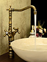 Antik Klassisk Stil Centerset Hög kvalitet Mässing Ventil Två handtag Ett hål Antik mässing, Badrum Tvättställ Kran