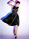 A-Line Princess Fit & Flare Scoop Neck Knee Length Satin Cocktail Party / Holiday Dress with Ruched Ruffles by TS Couture®