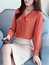 Γυναικεία Μπλούζα Μονόχρωμο Λαιμόκοψη V Φιόγκος / Άνοιξη / Φθινόπωρο