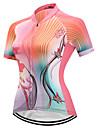 FUALRNY® สำหรับผู้หญิง แขนสั้น Cycling Jersey - สีชมพู จักรยาน เสื้อยืด แห้งเร็ว แถบสะท้อนแสง กีฬา ความเย็นสุด® ไลคร่า เสื้อผ้าถัก / ความยืดหยุ่นสูง