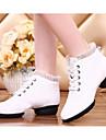 Damă Pantofi Dans Piele reală Călcâi Antrenament Platformă Alb Bej Rosu