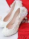Femme Chaussures Dentelle / Similicuir Printemps / Automne Confort Chaussures de mariage Bout rond Strass / Imitation Perle / Appliques