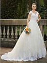 Haine Bal Regina Anne Trenă Catedrală Dantelă Peste Tul Made-To-Measure rochii de mireasa cu Mărgele / Aplică de LAN TING BRIDE®