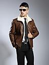 Bărbați Stand Jachetă Plus Size Simplu,Mată Manșon Lung Iarnă-Scurt Piele de Miel