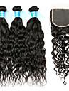 Peruanskt hår Remy-hår Vattenvågor Hårförlängning av äkta hår 4 Hår Inslag med Stängning