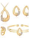 Pentru femei Zirconiu Placat Cu Aur Roz Aliaj Minge Bling bling Modă Petrecere Serată Brățară Σκουλαρίκια Coliere Inel Costum de bijuterii
