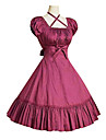 One-piece/Klänning Klassisk/Traditionell Lolita Vintage-inspirerad Cosplay Lolita-klänning Svart Grå Fuschia Vintage Puff KortärmadMedium