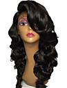 Äkta hår Spetsfront Peruk Brasilianskt hår Naturligt vågigt Frisyr i lager Bob-frisyr Med lugg 130% Densitet Med Babyhår obearbetade