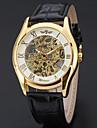 WINNER Bărbați Ceas La Modă Ceas Elegant  Ceas de Mână Mecanism automat Gravură scobită Piele Bandă Vintage Casual Cool Negru