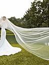 Un nivel Margine Tăiată Modern Voal de Nuntă Voaluri de Obraz Voaluri de Catedrală Accesoriu de Păr Cu Pliuri Tulle