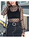 Damă Stil Nautic Bluză Ieșire Casul/Zilnic Club Sexy Simplu(ă),Mată Buline Manșon Lung Primăvară Vară-Negru Translucid Poliester