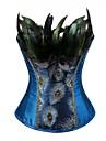 Pentru femei Cu Dantelă Corset peste Bust, Mediu Poliester Imprimeu Animal Brodată Albastru piscină