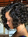 Äkta hår Brasilianskt Lace Wig Lockigt Bob-frisyr Spetsfront Med Babyhår 130% Densitet Kolsvart Svart Mörkbrun Mellan Brun Kastanj brunt