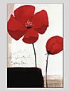 HANDMÅLAD Blommig/Botanisk Vertikal panoramautsikt Duk Hang målad oljemålning Hem-dekoration En panel