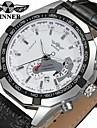 WINNER Bărbați Ceas La Modă Ceas Elegant Ceas de Mână Mecanism automat Calendar Piele Bandă Casual Cool Negru