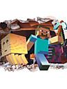 Tecknat 3D Väggklistermärken Väggstickers i 3D Dekrativa Väggstickers, Vinyl Hem-dekoration vägg~~POS=TRUNC Vägg Fönster