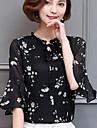 Γυναικεία Μπλούζα Εξόδου Κομψό στυλ street Φλοράλ Όρθιος Γιακάς / Άνοιξη / Καλοκαίρι / flare μανίκι