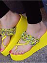 女性用 靴 EVA 夏 コンフォートシューズ スリッパ&フリップ・フロップ ウエッジヒール オープントゥ ブラック / イエロー / グリーン